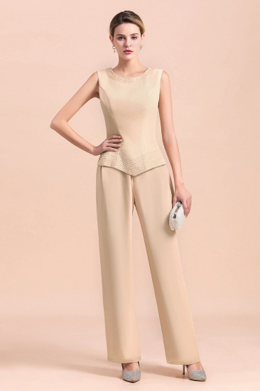Champagne Long Chiffon Mother of the Bride Dress Two Pieces With Jacket_7