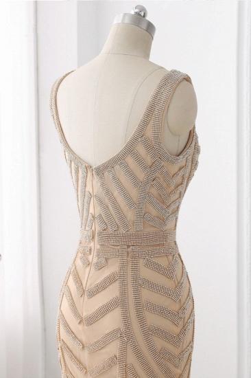 BMbridal Elegant Gold Tulle V-Neck Sleeveless Prom Dresses with Beadings On Sale_5