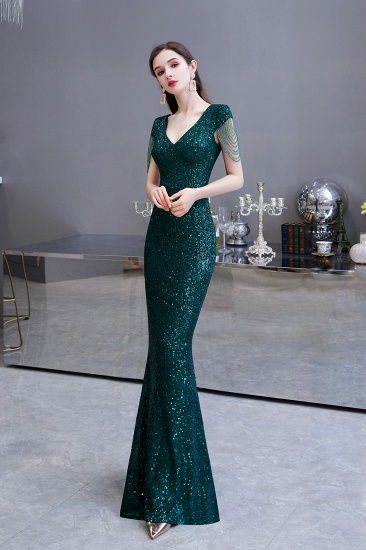 BMbridal Elegant Cap Sleeve Green Prom Dress Sequins Long Evening Gowns Online_9