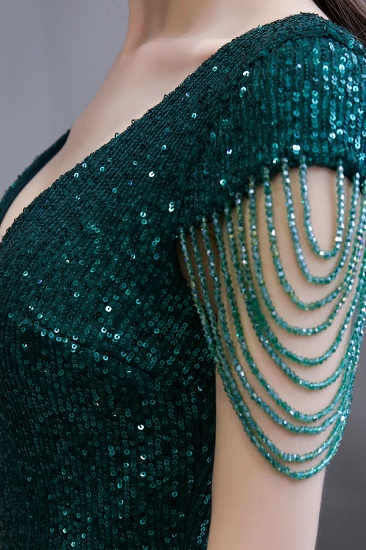 BMbridal Elegant Cap Sleeve Green Prom Dress Sequins Long Evening Gowns Online_10