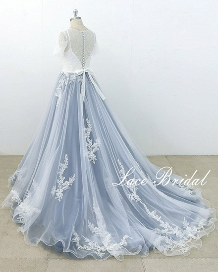 BMbridal AffordableBlue Gray Tulle Ivory Lace Wedding Dress Short Sleeve Beach Bridal Gowns On Sale_4