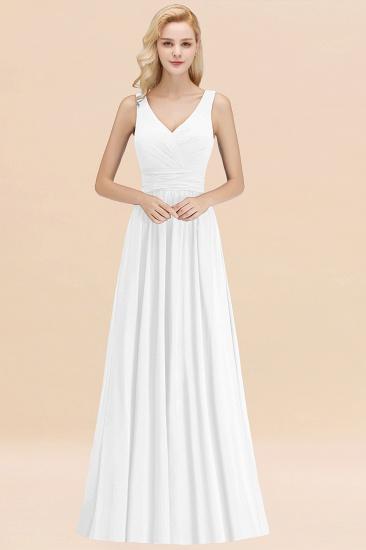 Modest Sleeveless V-Neck Long Chiffon Bridesmaid Dress Online with Ruffle_1