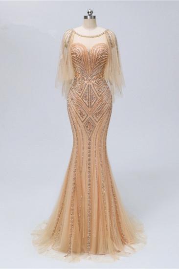 Elegant Tulle Beadings Gold Mermaid Prom Dresses Short Sleeves Rhinestones Evening Dresses Online_1