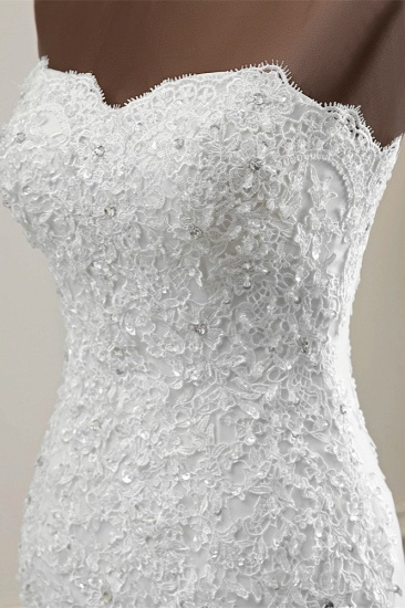 BMbridal Chic Strapless Lace Appliques White Mermaid Wedding Dresses with Beadings Online_7