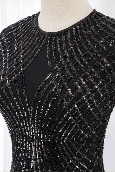 Gorgeous Jewel Sleeveles Black Mermaid Prom Dresses with Beadings_5