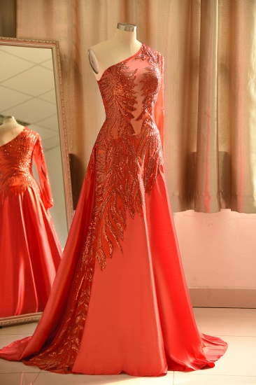 Chic One-Shoulder Red Sequined Prom Dresses One-Sleeve Sexy Party Dress On Sale_4