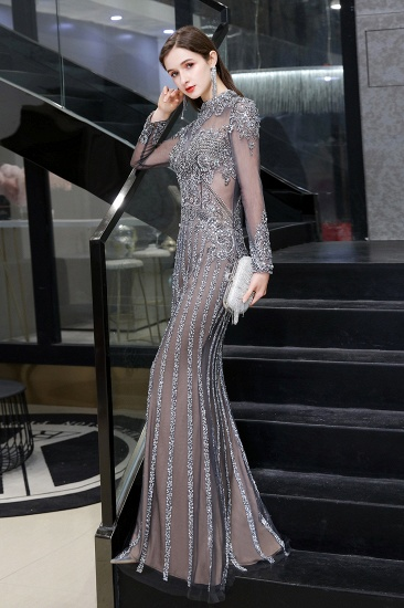 BMbridal Gorgeous Long Sleeve Mermaid Prom Dress With Sequins High-Neck Evening Gowns_7
