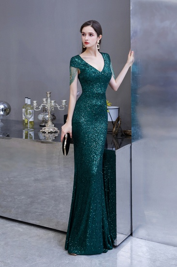 BMbridal Elegant Cap Sleeve Green Prom Dress Sequins Long Evening Gowns Online_6