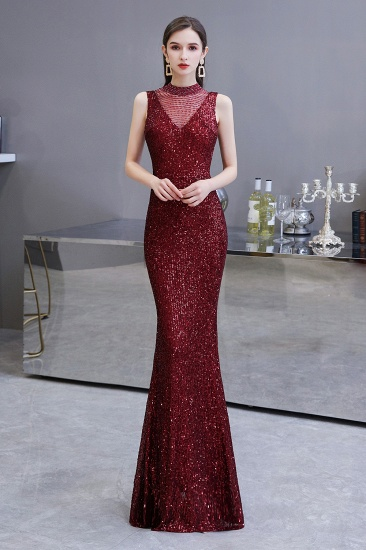 BMbridal Gorgeous Burgundy Sequins Long Mermaid Prom Dress On Sale