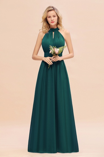 Glamorous High-Neck Halter Bridesmaid Affordable Dresses with Ruffle_33
