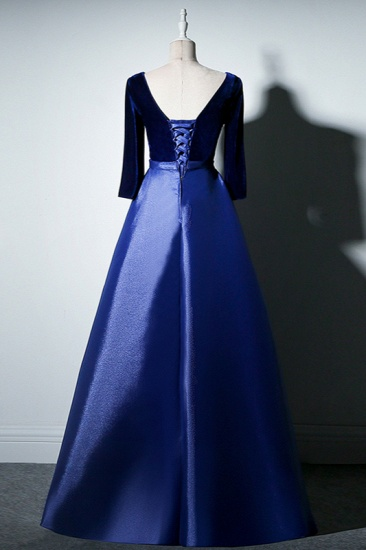 Elegant V-Neck Satin A-Line Prom Dresses Long Sleeves Party Dresses On Sale_7