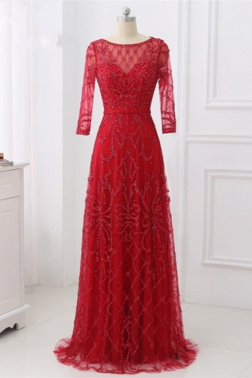 Glamorous Red Tulle Jewel Appliques Prom Dresses Long Sleeves with Rhinestones On Sale_1