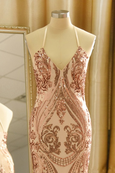 Sexy V-Neck Rose Gold Prom Dress Mermaid Long Sequins Evening Party Gowns_5