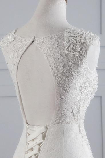 BMbridal Glamorous Jewel Sleeveless Rhinestone White Mermaid Wedding Dresses with Appliques_7