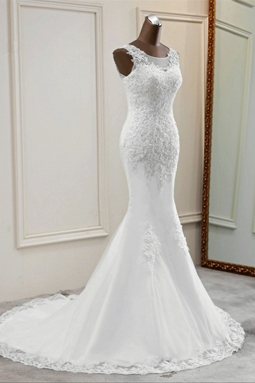 BMbridal Stunning Jewel Sleeveless White Wedding Dresses White Mermaid Beadings Bridal Gowns_4