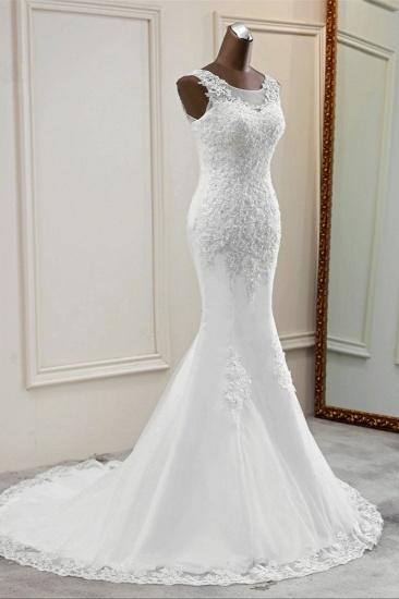 Stunning Jewel Sleeveless White Wedding Dresses White Mermaid Beadings Bridal Gowns_4