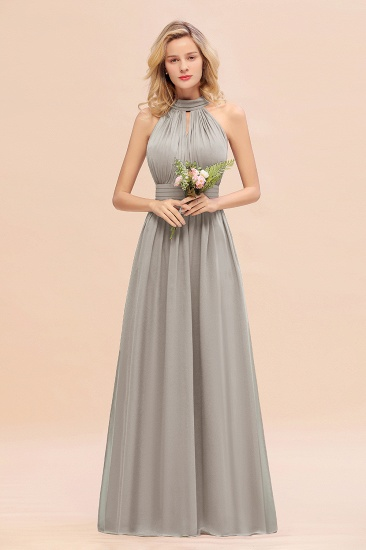 Glamorous High-Neck Halter Bridesmaid Affordable Dresses with Ruffle_30