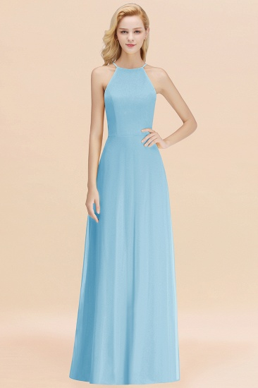 Modest High-Neck Yellow Chiffon Affordable Bridesmaid Dresses Online_23