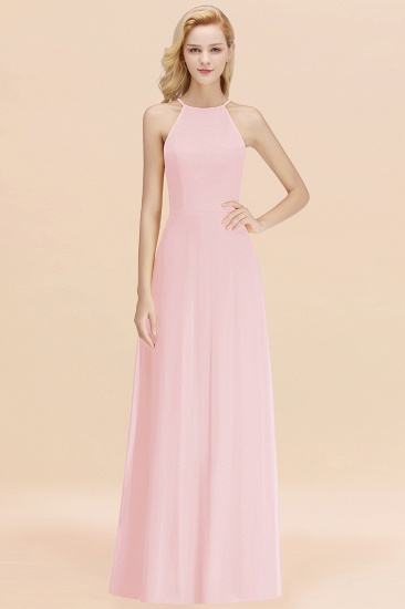 Modest High-Neck Yellow Chiffon Affordable Bridesmaid Dresses Online_3
