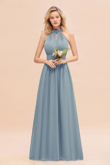 Glamorous High-Neck Halter Bridesmaid Affordable Dresses with Ruffle_40