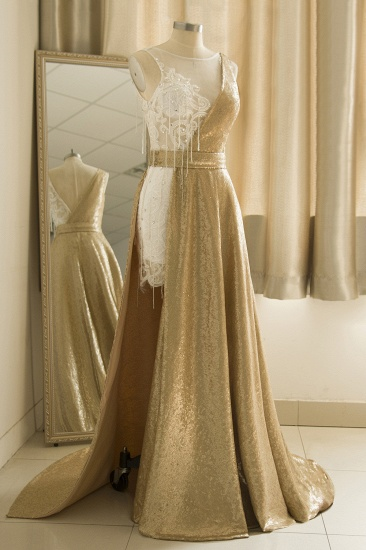 BMbridal Stylish Jewel Gold Sequined A-Line Prom Dresses Sleeveless White Appliques Evening Dress with Beadings_4