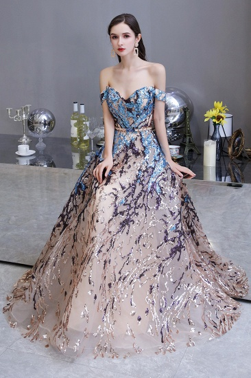 BMbridal Glamorous Off-the-Shoulder Sequins Evening Gowns Long Multi-Color Prom Dress_9
