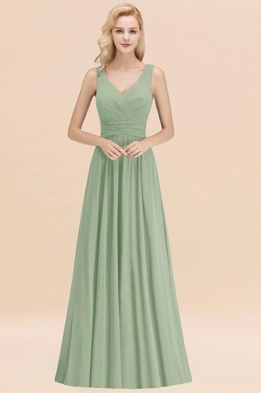 Modest Sleeveless V-Neck Long Chiffon Bridesmaid Dress Online with Ruffle_41