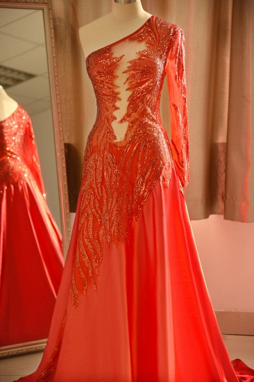 Chic One-Shoulder Red Sequined Prom Dresses One-Sleeve Sexy Party Dress On Sale_5