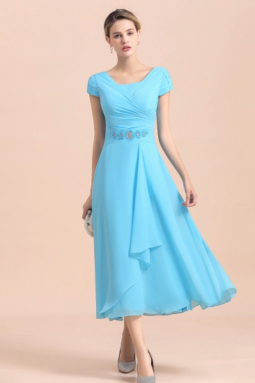 Blue Short Sleeves Chiffon Mother of the Bride Dress Tea-Length Online