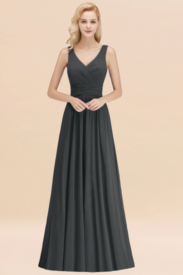 Modest Sleeveless V-Neck Long Chiffon Bridesmaid Dress Online with Ruffle_46