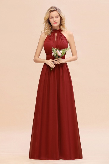 Glamorous High-Neck Halter Bridesmaid Affordable Dresses with Ruffle_48