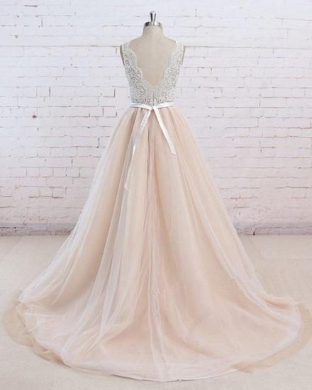 AffordableBlush Pink Tulle Wedding Dress Ivory Lace V-Neck Vintage Bridal Gowns On Sale_3