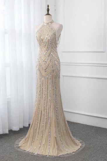 Gorgeous High-Neck Sleeveless Mermaid Prom Dresses with Rhinestoes Online_4