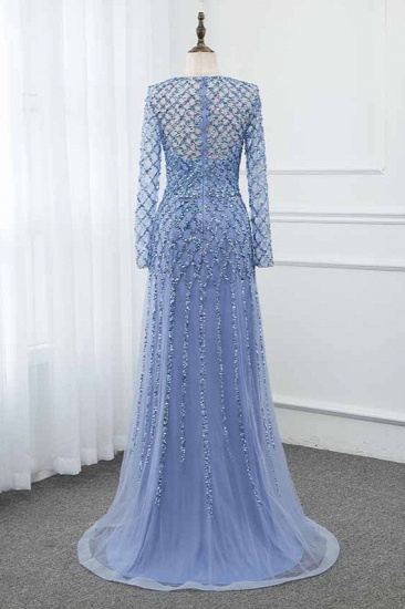 BMbridal Elegant Tulle Jewel Rhinestones Prom Dresses with Long Sleeves_3