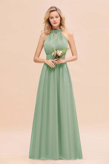 Glamorous High-Neck Halter Bridesmaid Affordable Dresses with Ruffle_41