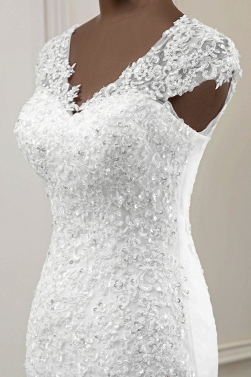 Luxury V-Neck Sleeveless White Lace Mermaid Wedding Dresses with Appliques_8