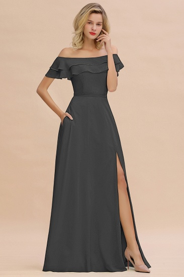 Exquisite Off-the-shoulder Slit Mint Green Bridesmaid Dress With Pockets_46
