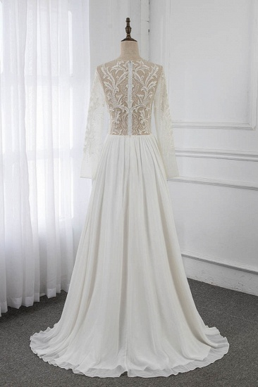 BMbridal Affordable Jewel Chiffon Ruffles Wedding Dresses Lace Top Long Sleeves Bridal Gowns Online_3