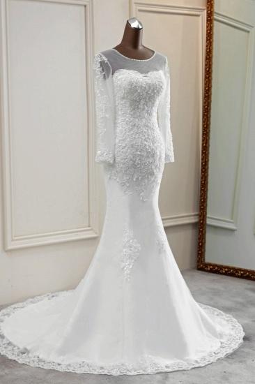 Elegant Jewel Long Sleeves White Mermaid Wedding Dresses with Rhinestone Applqiues_5