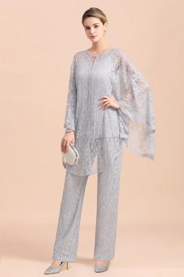 BMbridal Elegant V-Neck Appliques Silver Mother of Bride Jumpsuit with Lace Wraps_4