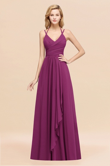 BMbridal Affordable Chiffon Burgundy Bridesmaid Dress With Spaghetti Straps_42
