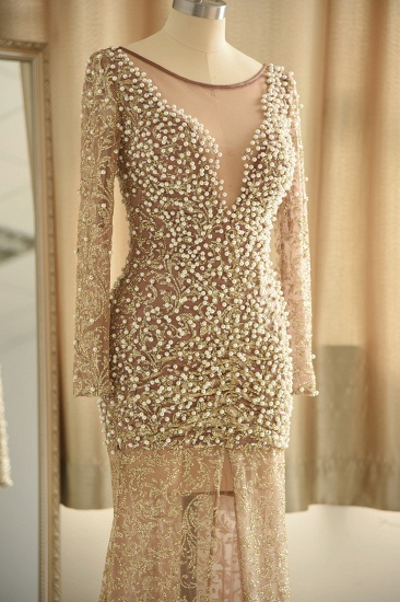 Glamorous Jewel Lace Front Slit Prom Dresses Long Sleeves Appliques Formal Dresses with Pearls_6
