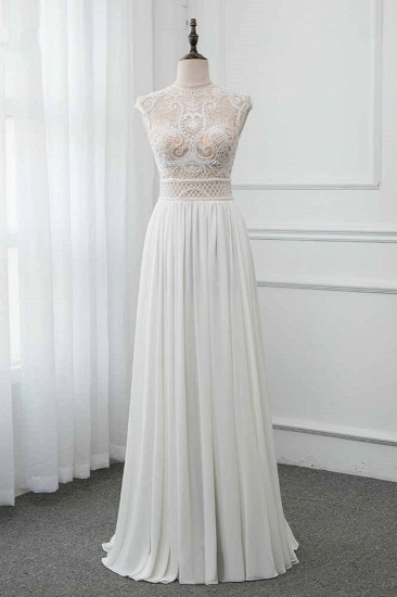 Chic Jewel Chiffon Ruffle White Wedding Dresses Lace Top Sleeveless Bridal Gowns with Pearls