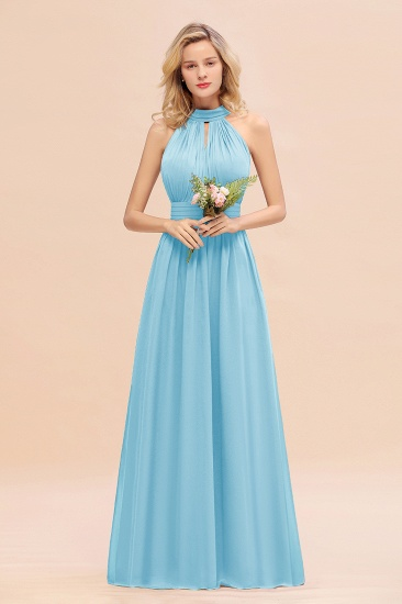 Glamorous High-Neck Halter Bridesmaid Affordable Dresses with Ruffle_23