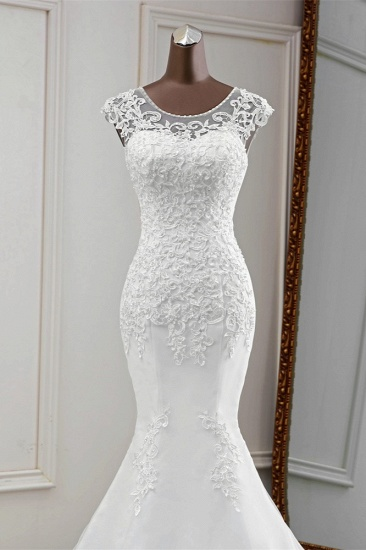 Gorgeous Jewel Sleeveless White Lace Mermaid Wedding Dresses with Appliques_6