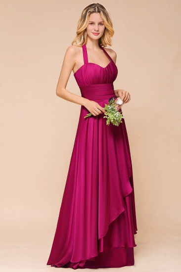 Fuchsia Halter Chiffon Bridesmaid Dresses Long Online_4