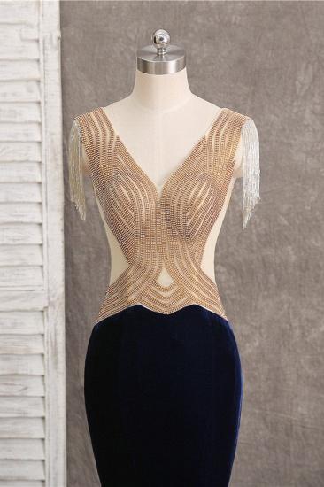 BMbridal Chic V-Neck Mermaid Black Prom Dresses Sleeveless Beadings with Tassels Online_5
