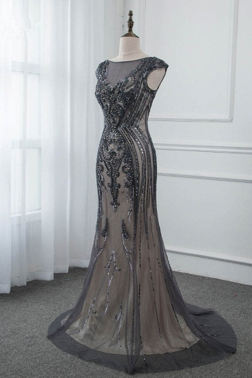 Glamorous Jewel Black Mermaid Prom Dresses with Appliques Rhinestones_4