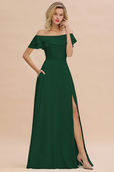 Exquisite Off-the-shoulder Slit Mint Green Bridesmaid Dress With Pockets_31
