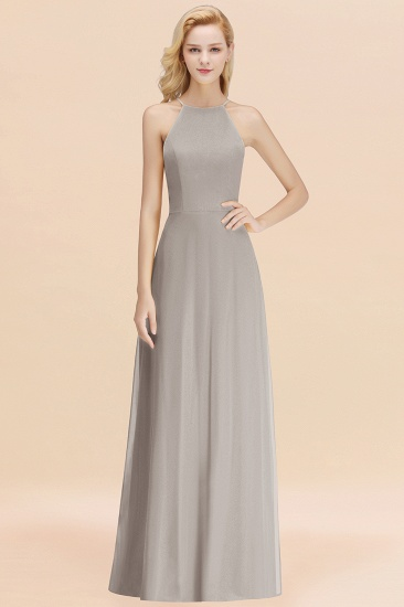 Modest High-Neck Yellow Chiffon Affordable Bridesmaid Dresses Online_30